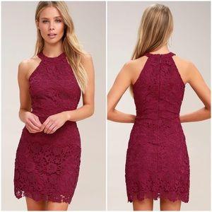NWOT Lulus Love Poem Magenta Lace Dress
